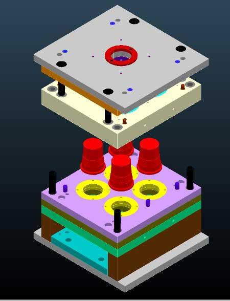 Ejemplo en 3D de molde para inyección de plásticos